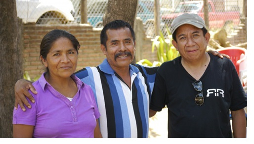 Oscar Olivera (co-author) with two founding members of the CRAC