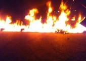 Fotoğraf SAC tarafından Menufiya'daki yol kesme eylemini gösteriyor