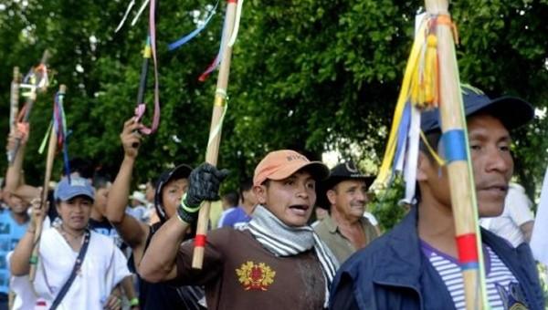 Kolombiyalı köylülerin 30 Ağustos günü başlattıkları kitlesel seferberlik | Fotoğraf: EFE