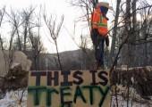 8 İlk Ulus Anlaşma'sından Jack Askoty Site C şantiyesi için kesilen kadim ağaçlardan birinin kökü üzerinde duruyor. (Yvonne Tupper / Facebook)