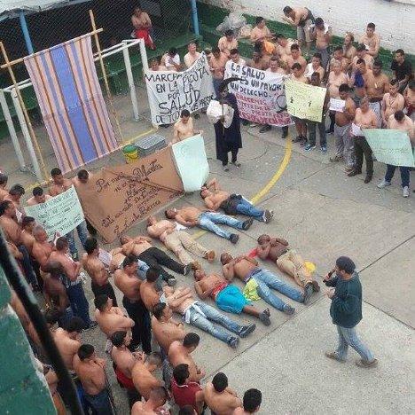 La Picota cezaevinde tutulan politik tutsakların protestosundan bir kare...